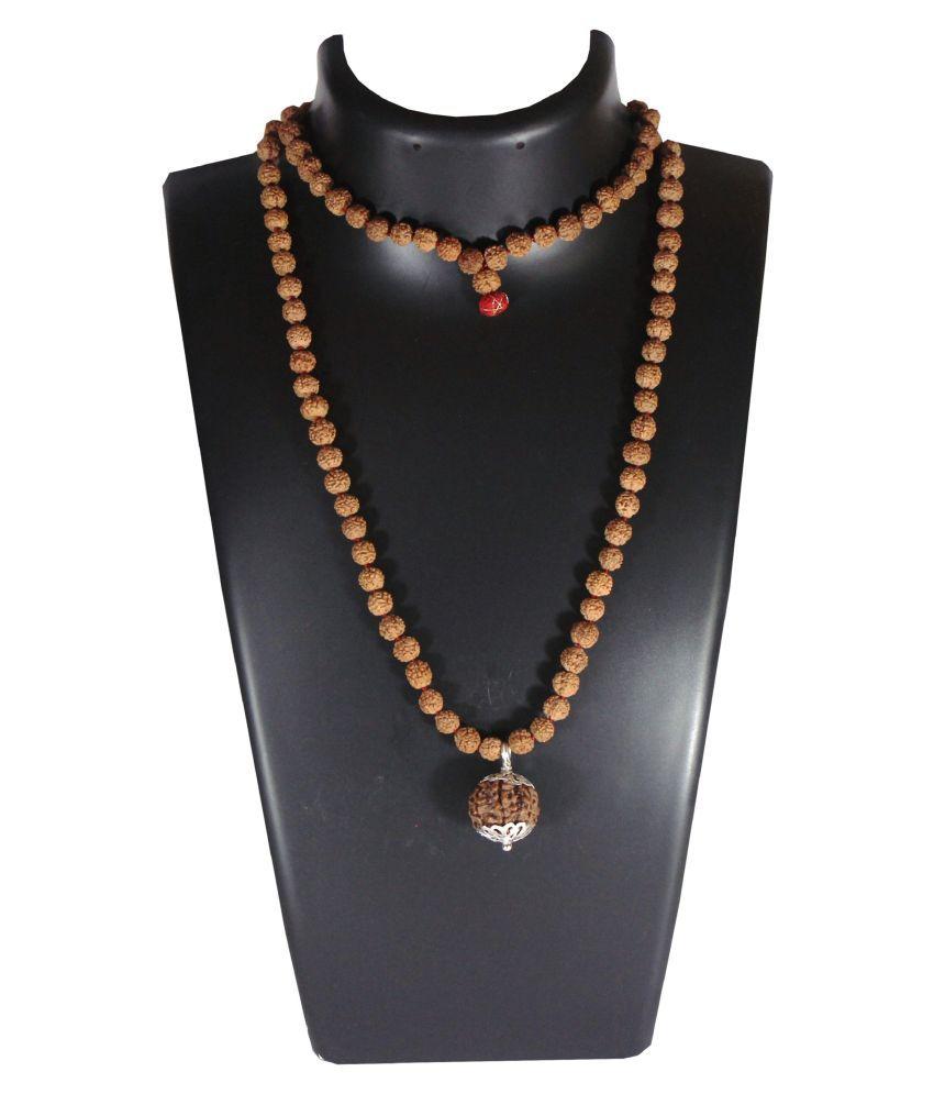 10 Mukhi Guru Mani / Bead (5 Mukhi Rudraksha Mala) Silver Cap - Lab Certified