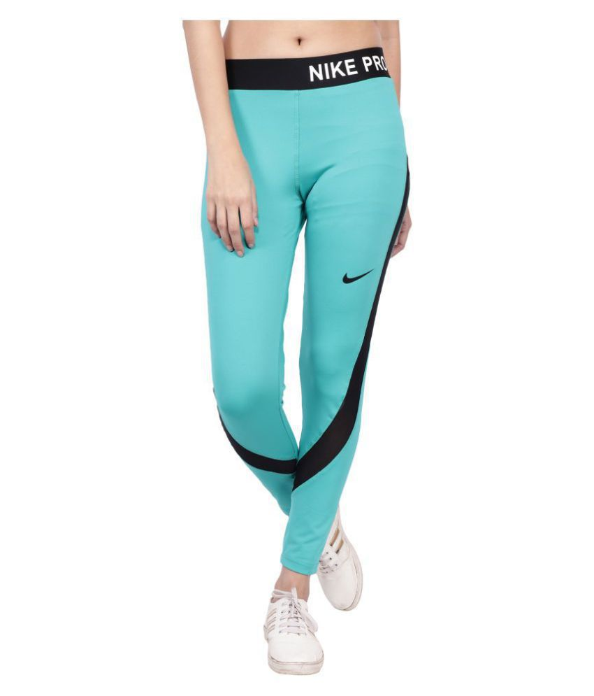 Nike Neon Blue Polyester Lycra Solid Tights