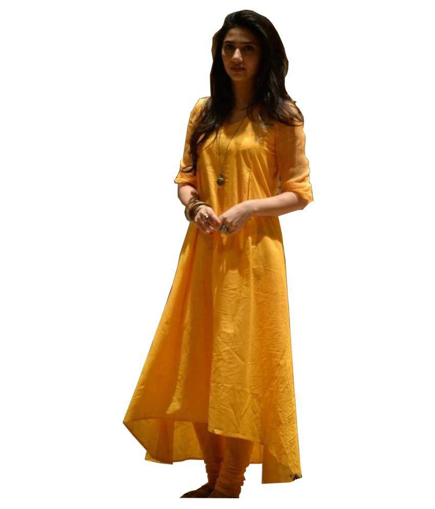 Ritsila Rayon Yellow Fit And Flare Dress