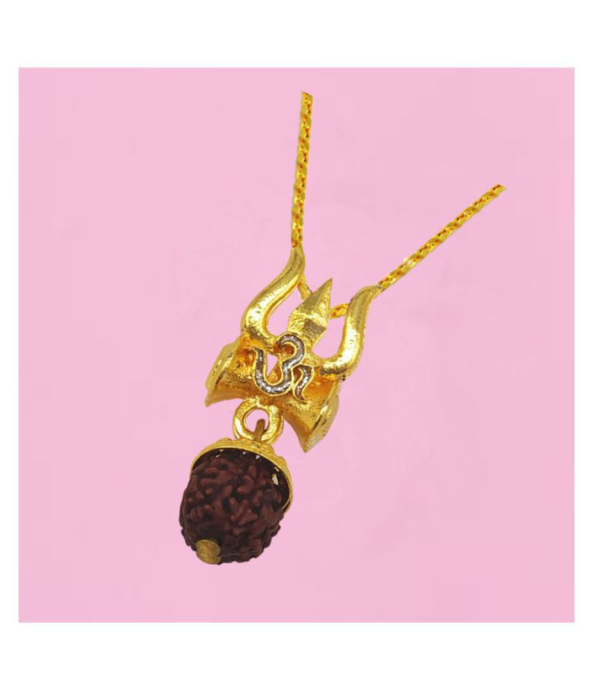 Men Style  Beautiful Great Hindu Shiva Ji Om Trishula Damaru Locket With Chain Gold-plated Brass Pendant Set
