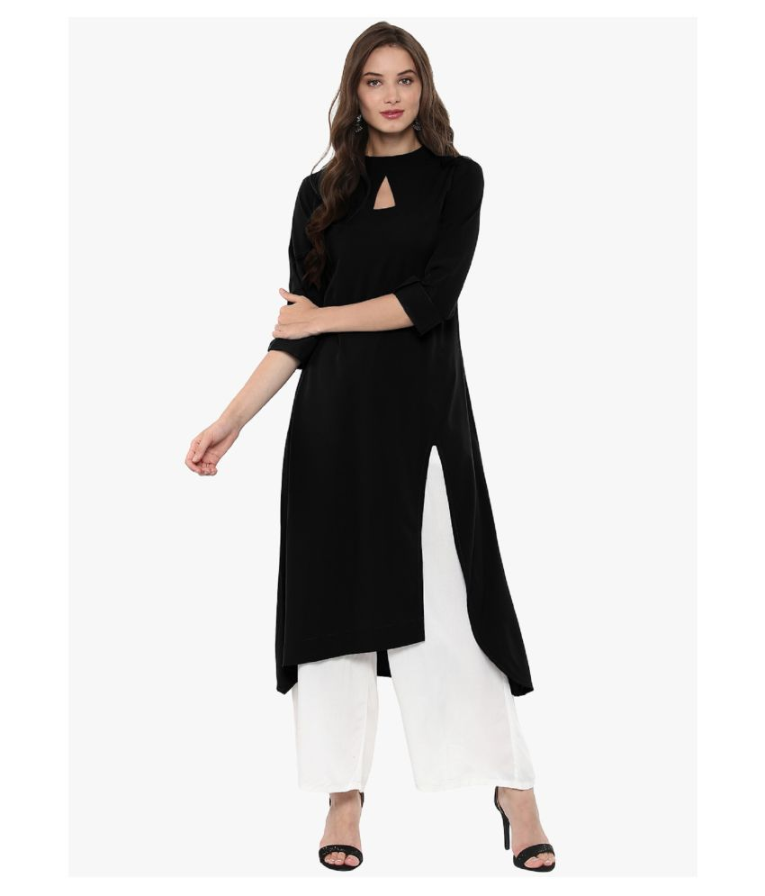 NOWT-Aliquid Black Crepe High Slit Kurti