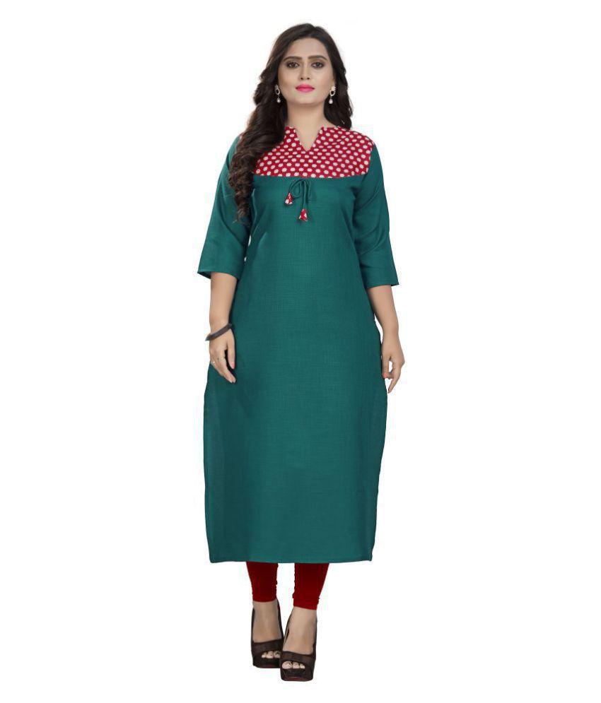 Rangrasiya Green Cotton Straight Kurti
