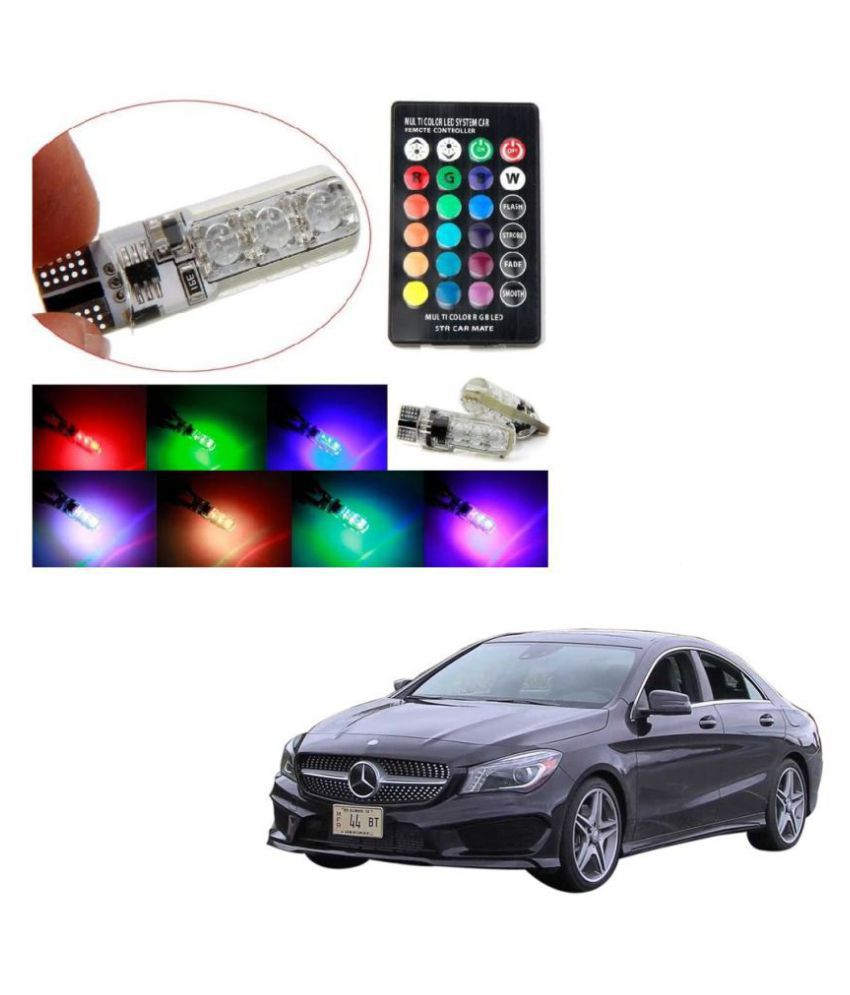 Auto Addict Car 5050 T10 6 SMD Remote Control 12V RGB Car Reading Wedge Lights for Auto Tail Light,Side,Parking,Door,Parking,Indicator,Socket Lighting Bulb 2 Pcs For Mercedes Benz CLA-Class