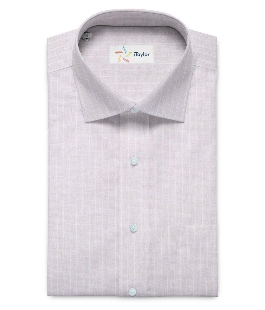 iTaylor Beige Cotton Blend Unstitched Shirt pc