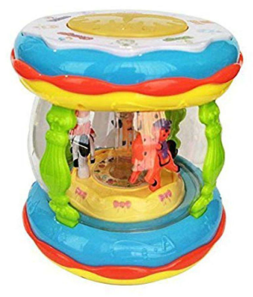 yatri enterprise Wonder Land Merry-Go-Round Musical Drum with 10 Songs ,3 Stories ,16 types of Different Music,3 D Lights & Feather Touch Buttons