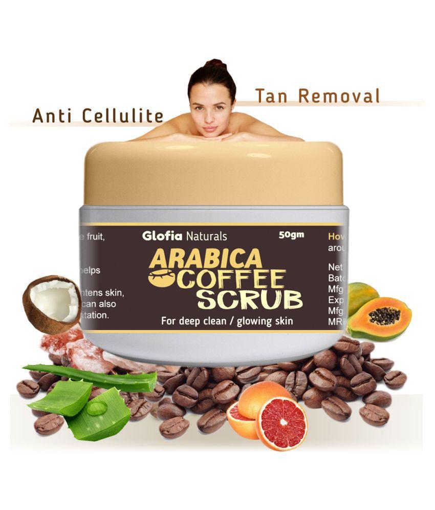 Glofia Naturals Arabica Coffee facial body scrub De tan Skin glow Anti cellulite Facial Scrub 50 gm