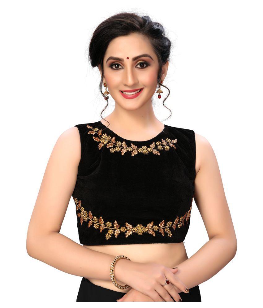 Shubh Sanidhya Black Silk Semi Stitched Blouse