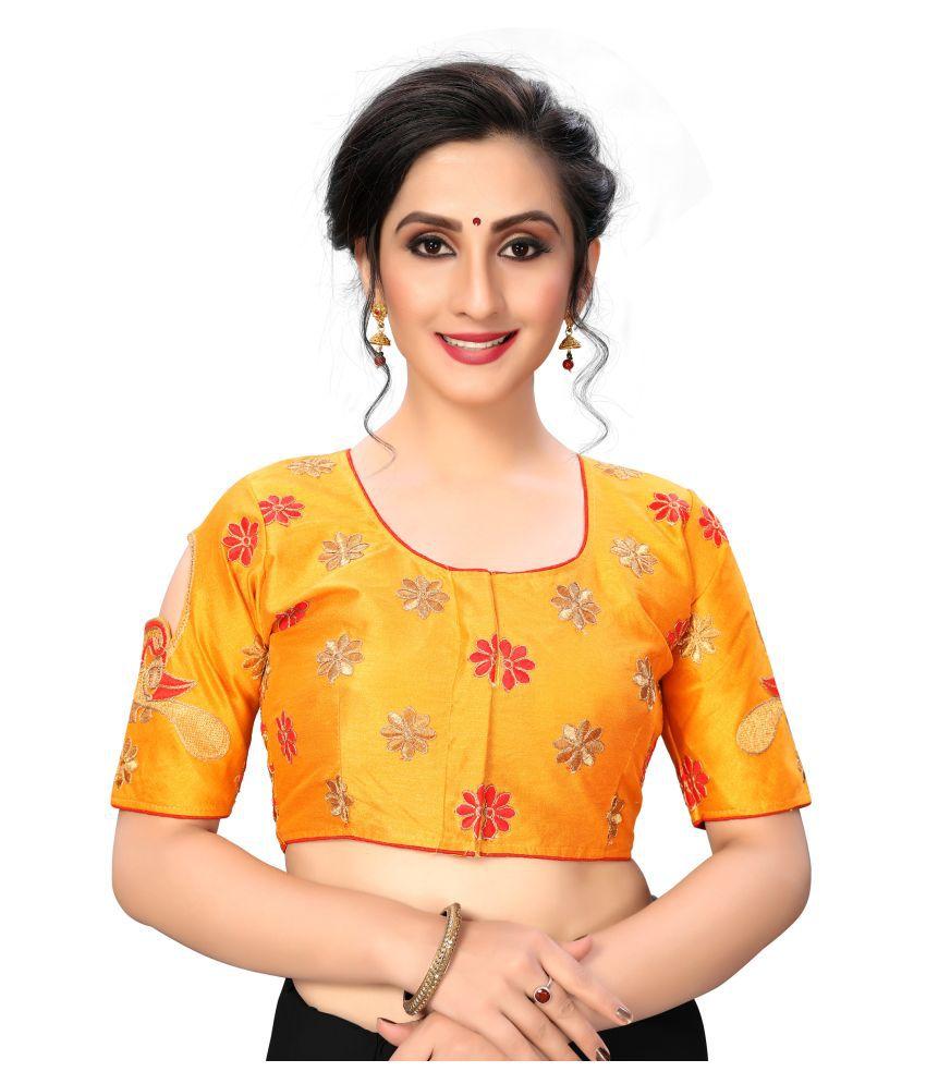 Shubh Sanidhya Yellow Silk Semi Stitched Blouse