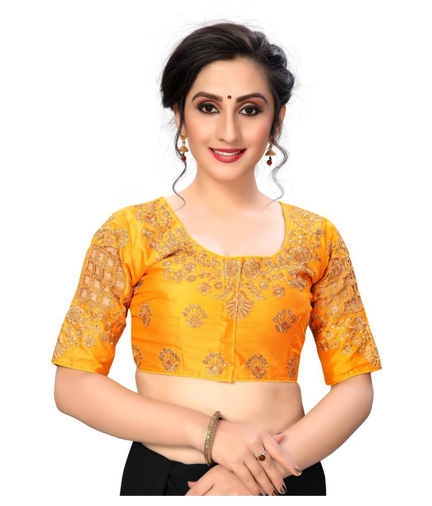 Shubh Sanidhya Yellow Silk Semi Stitched Blouse