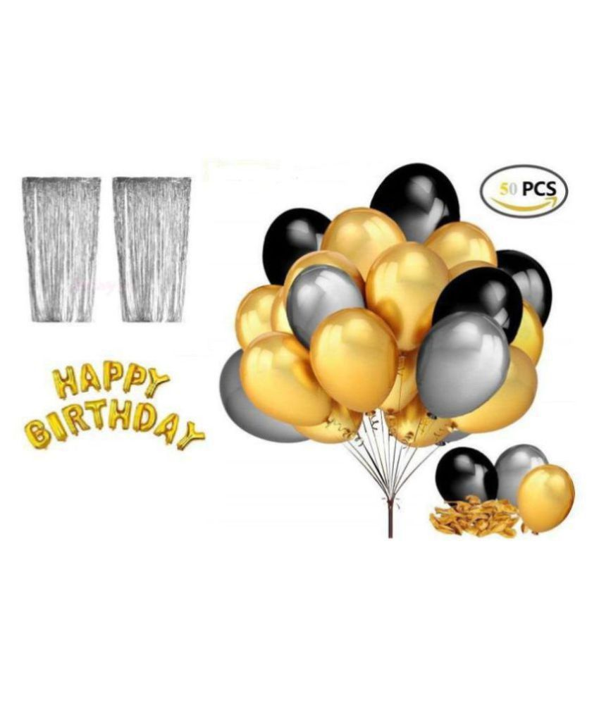 Happy Birthday Letter Foil Balloon Set Of Gold 2pcs Silver Fringe Curtain 3 X 6 Feet Pack Of 50 Pcs Metallic Balloons Black Gold And Silver Buy Happy Birthday