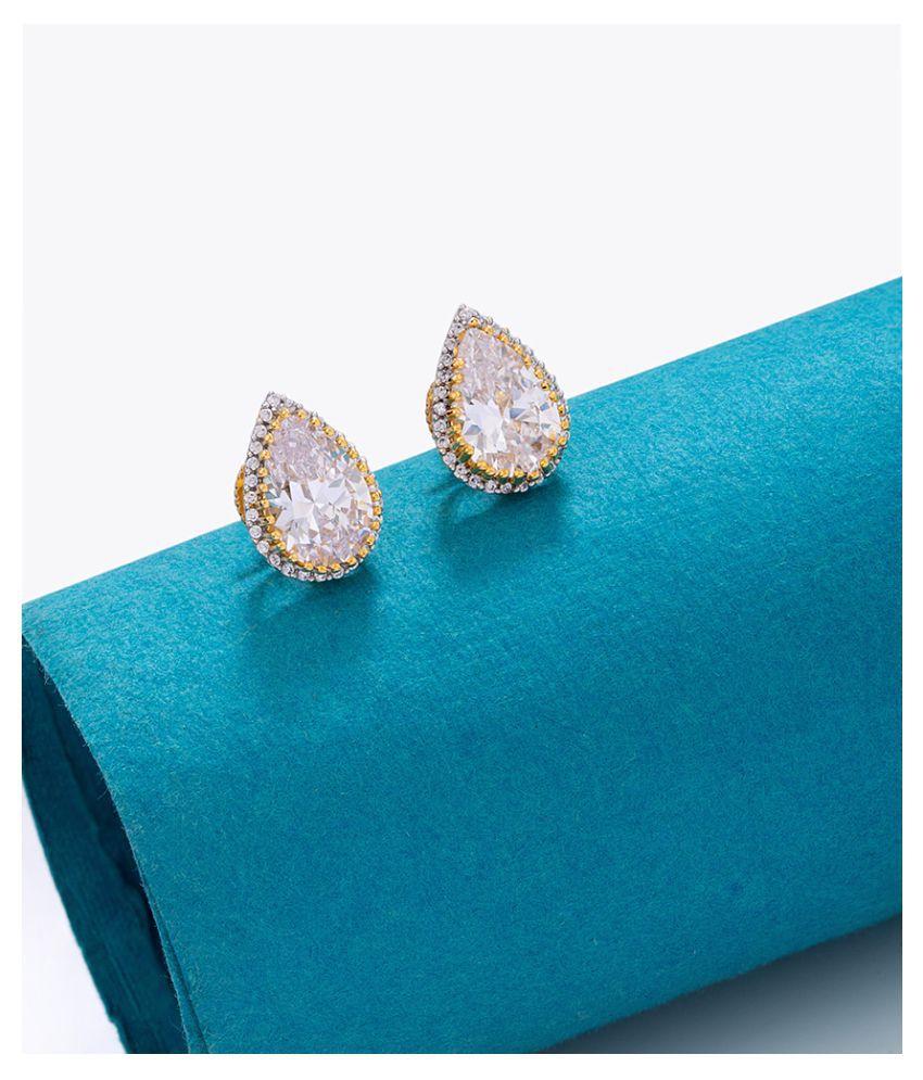 Voylla Teardrop Cut Zircon Adorned Earrings