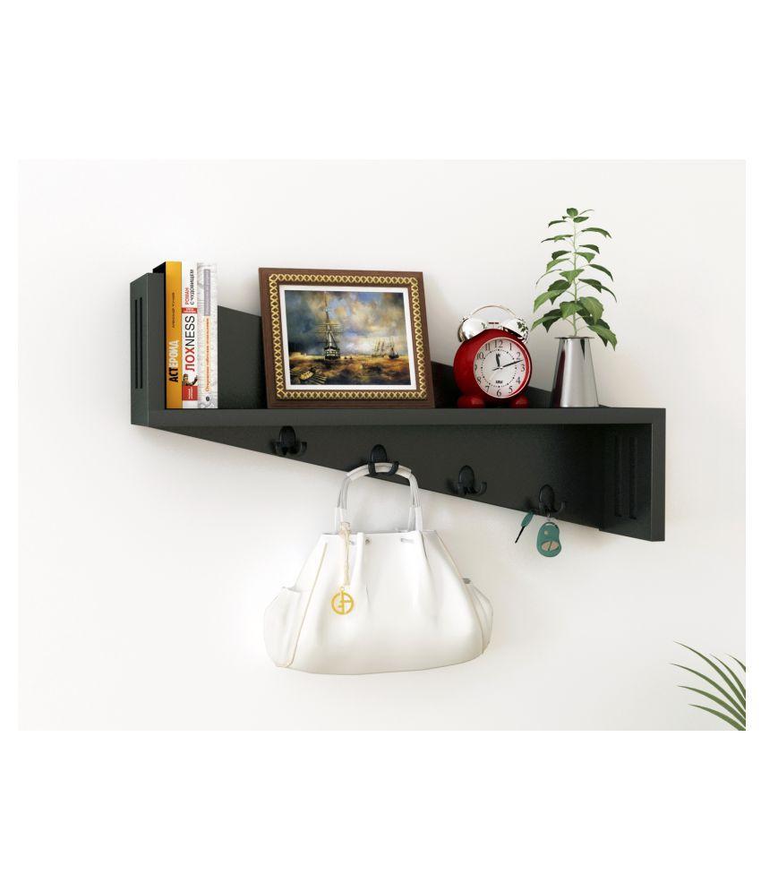 Home Sparkle Floating Shelves Black MDF - Pack of 1