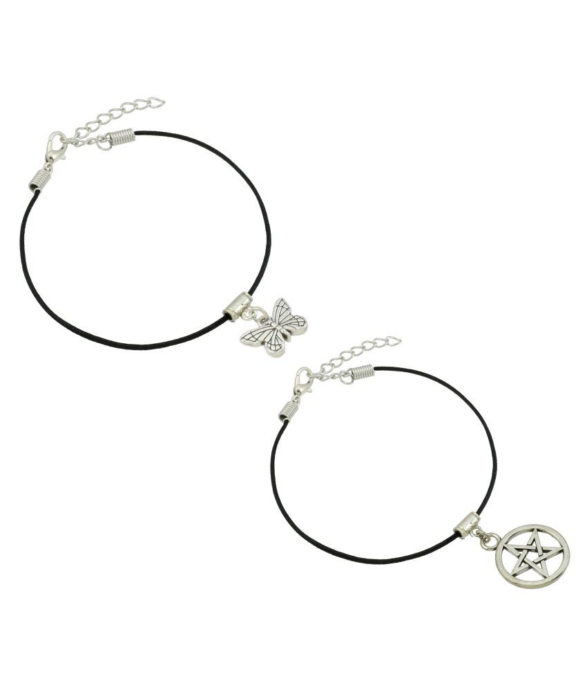 High Trendz Stylish Black Thread With Charm Single Anklets Combo For Women and Girls (2 Single Anklets)