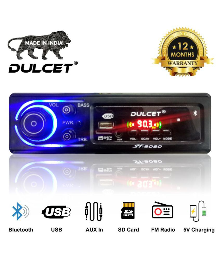 Dulcet DC-ST-8080 Double IC High Power Universal Fit Mp3 Car Stereo with Bluetooth/USB/FM/AUX/MMC/Remote & Built-in Equalizer with Bass & Treble Control [Also, Includes a Free 3.5mm Aux Cable]