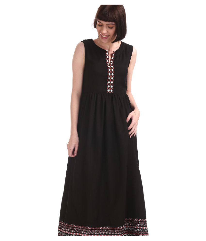 BRONZ Rayon Black Fit And Flare Dress