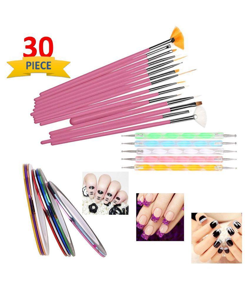 Glamix Professional Nail Art Set Décor Accessories 15 Nail Art brushes 5 dotting pen 10 striping tape 50 g