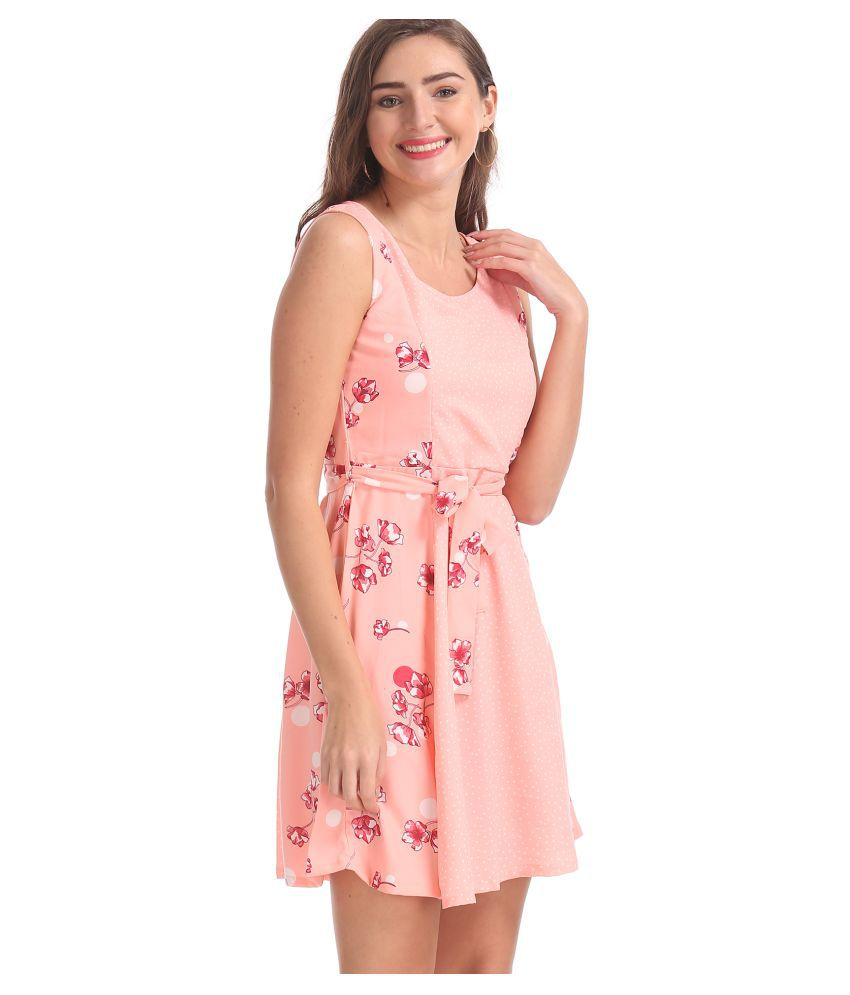 Sugr Polyester Pink Fit And Flare Dress