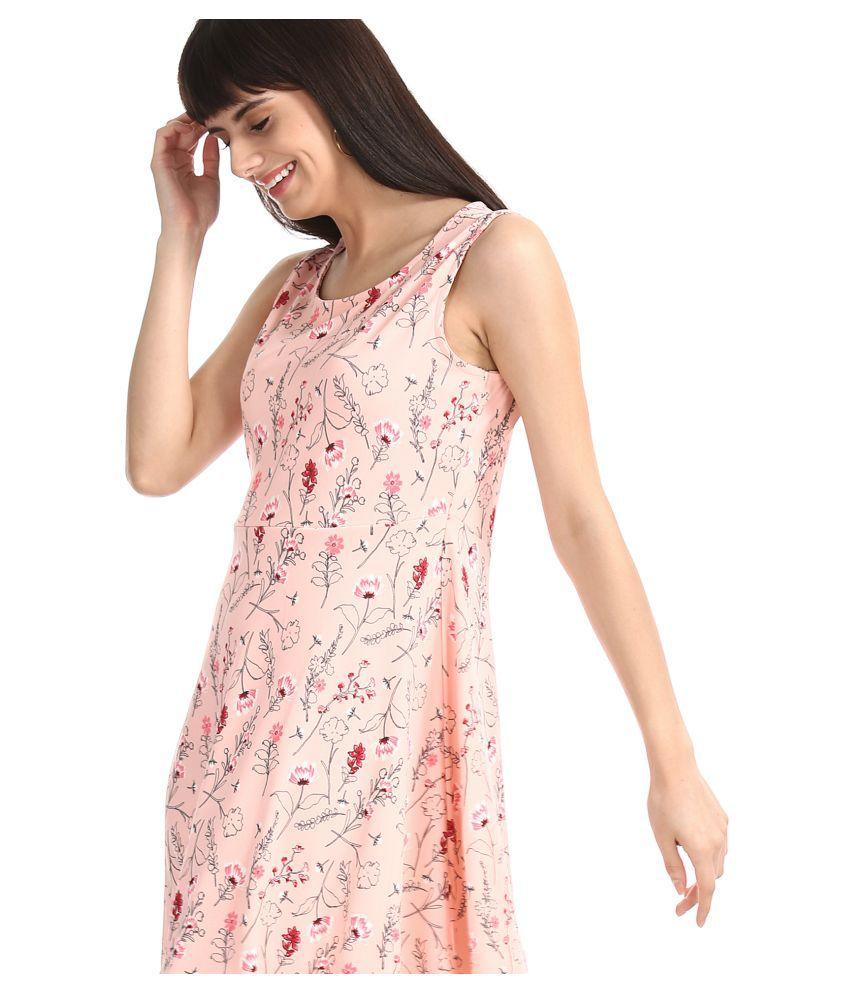 Sugr Polyester Pink Skater Dress