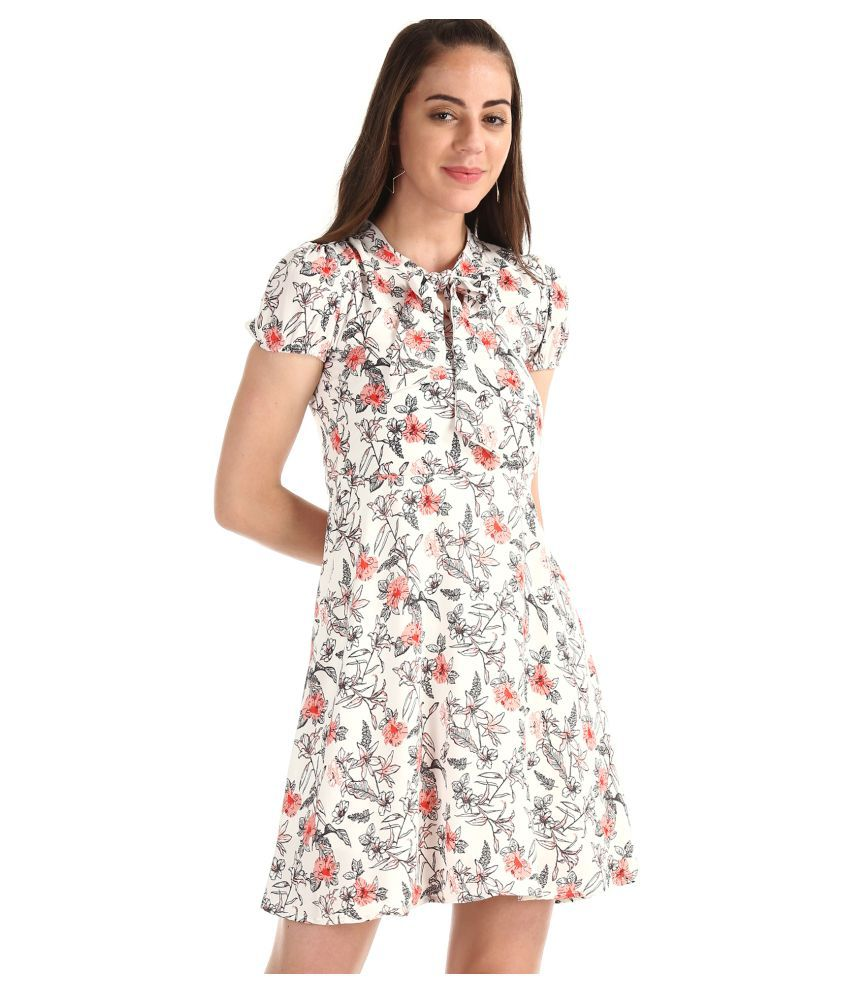 Sugr Polyester White Fit And Flare Dress