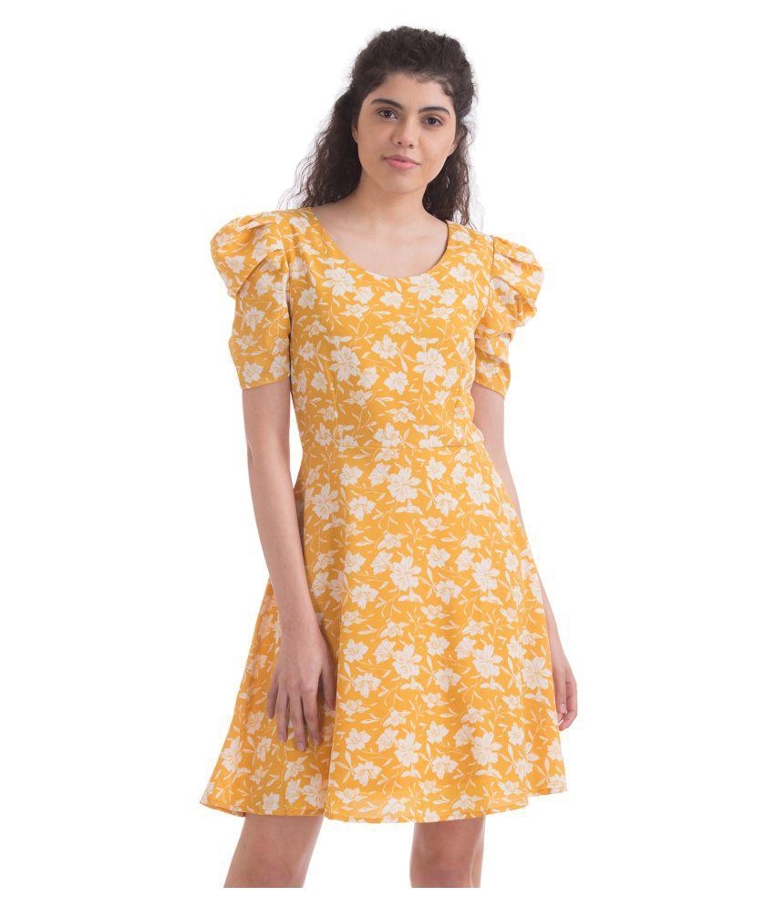 Sugr Polyester Yellow Regular Dress