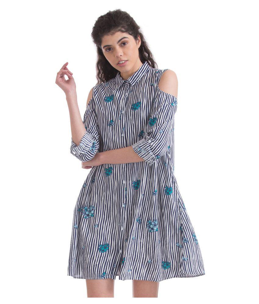Sugr Rayon Blue Shirt Dress