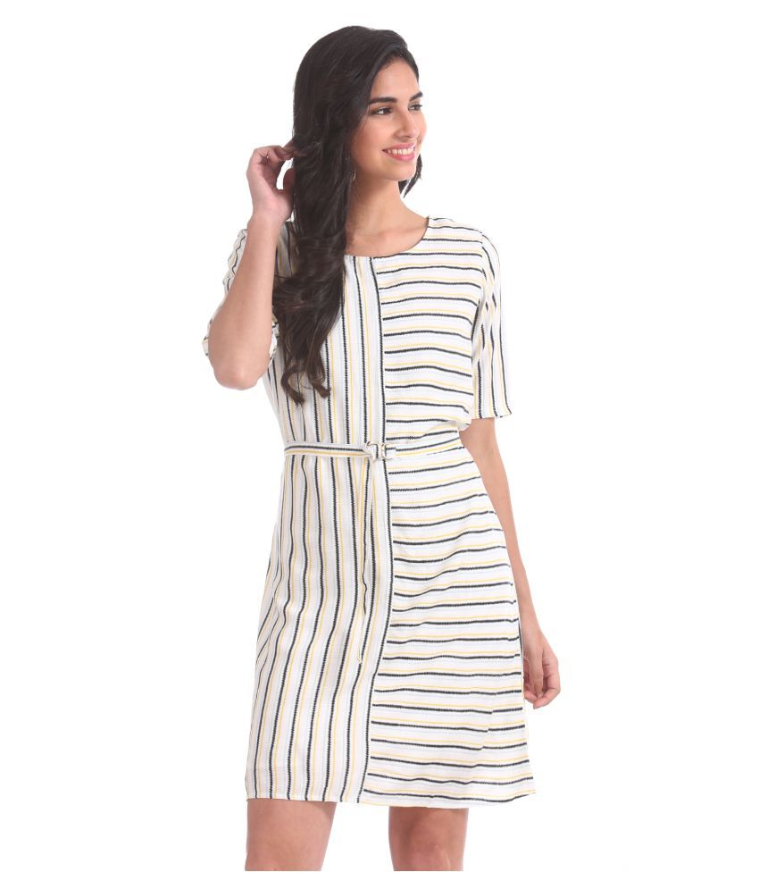 Sugr Rayon White Regular Dress