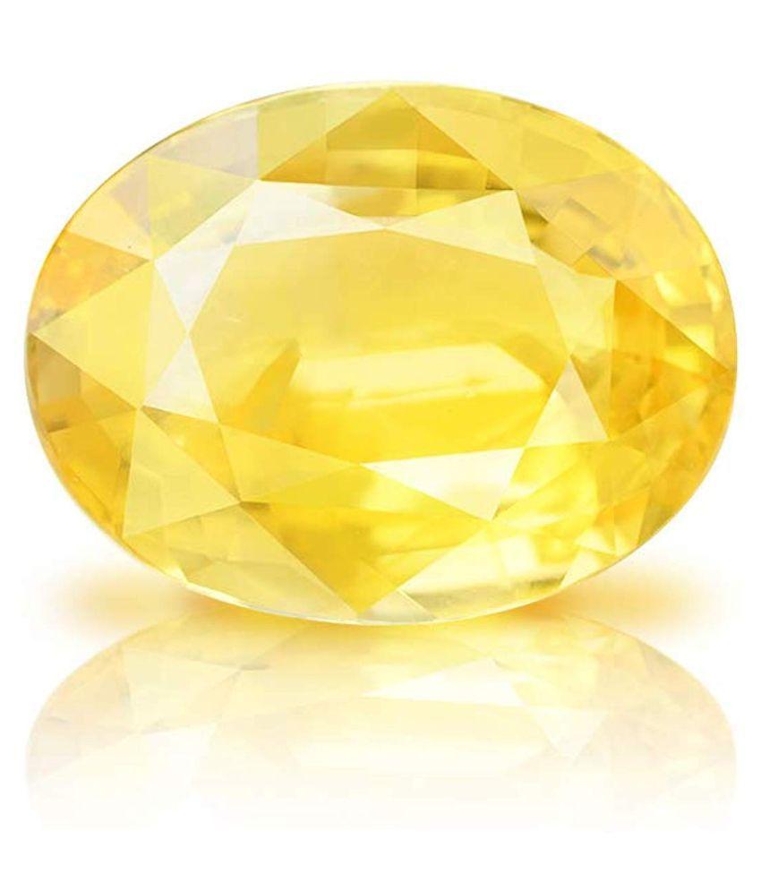 TODANI JEMS 3.25 -Ratti Self certified Yellow Yellow Sapphire (Pukhraj) Semi-precious Gemstone