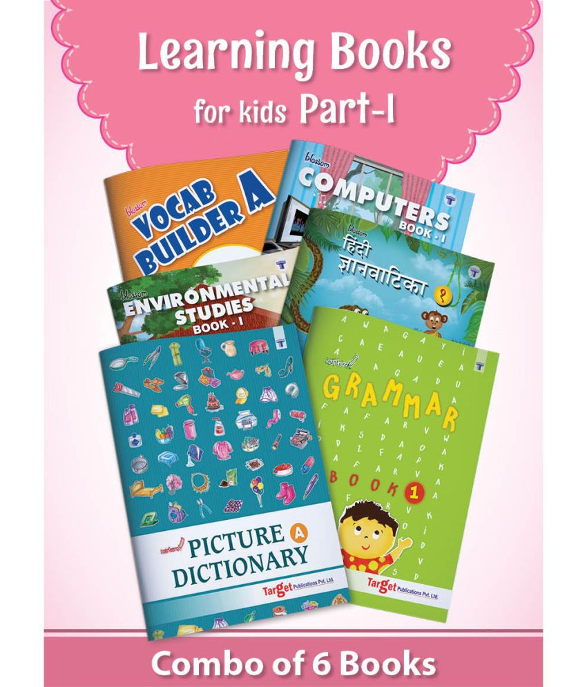 Learning Books for Basics of English Vocabulary, Grammar, Computer, EVS and Hindi Language for Kids   Part 1   5 to 7 Year Old Children   Includes Activities with Colourful Picture Dictionary   Set of 6 Books