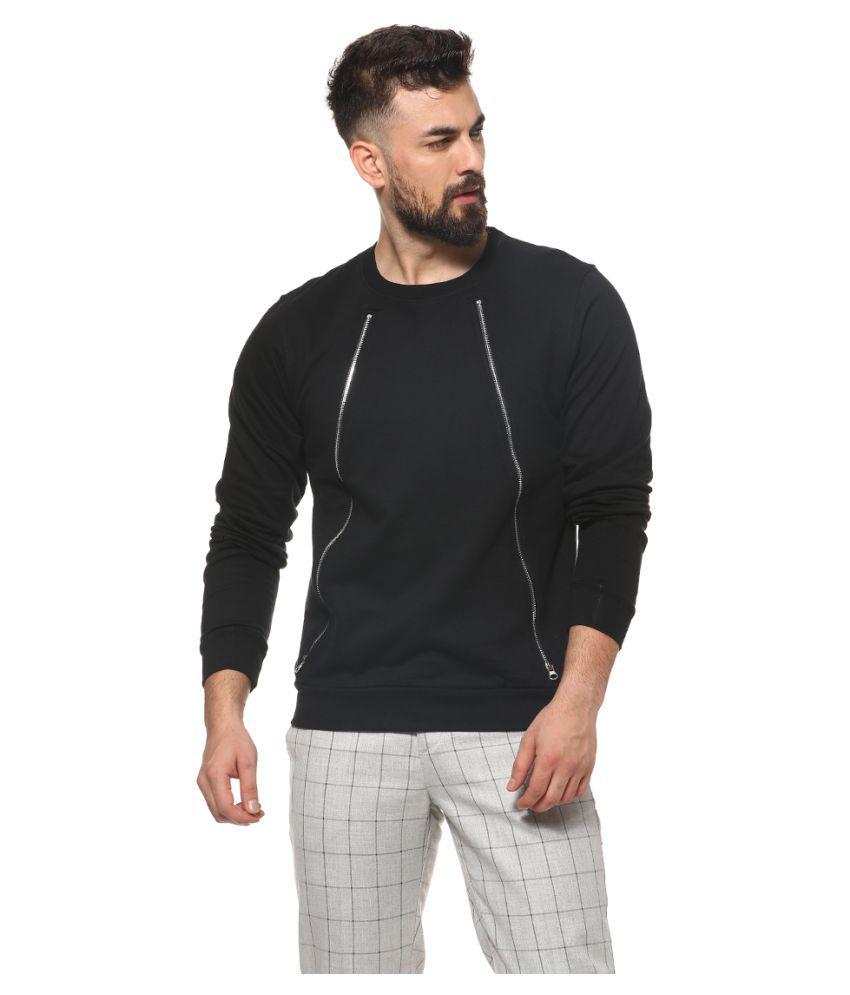 Campus Sutra Black Round Sweatshirt