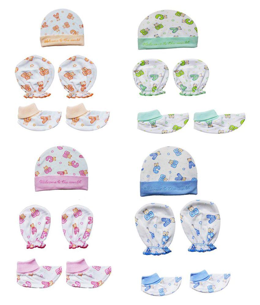 Gouravsumana Baby Boys and Baby Girl's Soft Cotton Cap Pack Of 4