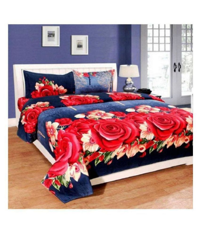 Home Garage Microfibre Double Bedsheet with 2 Pillow Covers