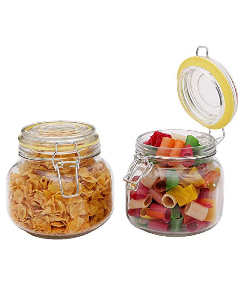 SMART SKILL Steel Lock Lid Glass Food Container Set of 2 750 mL