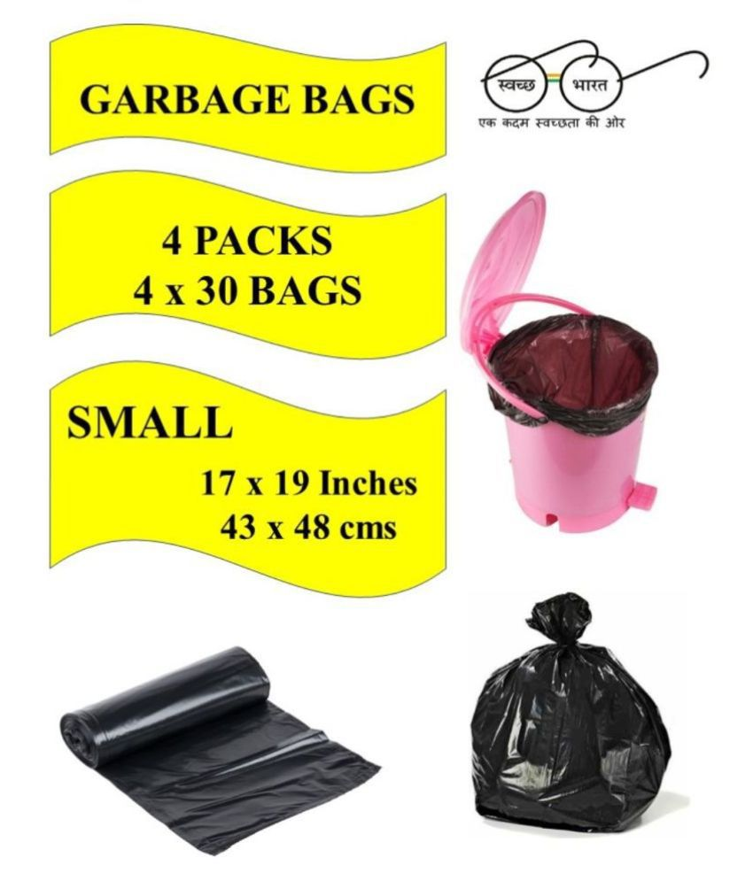 Navrachana Garbage Bags| Small:17X19 |4 Packs of 30 Pcs-120 Pcs | Recyclable Garbage Dustbin Bags - Black