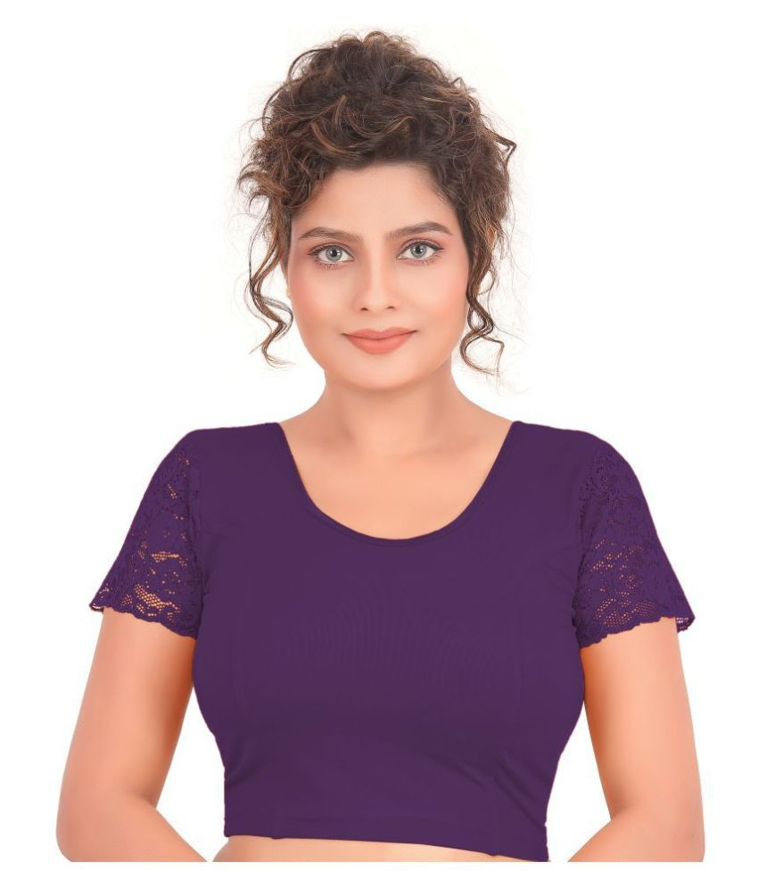 Atulya Designer Blouse Purple Lycra Readymade without Pad Blouse