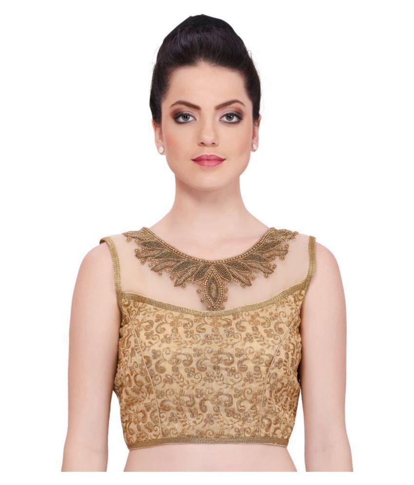 PKYC Gold Art Silk Readymade with Pad Blouse