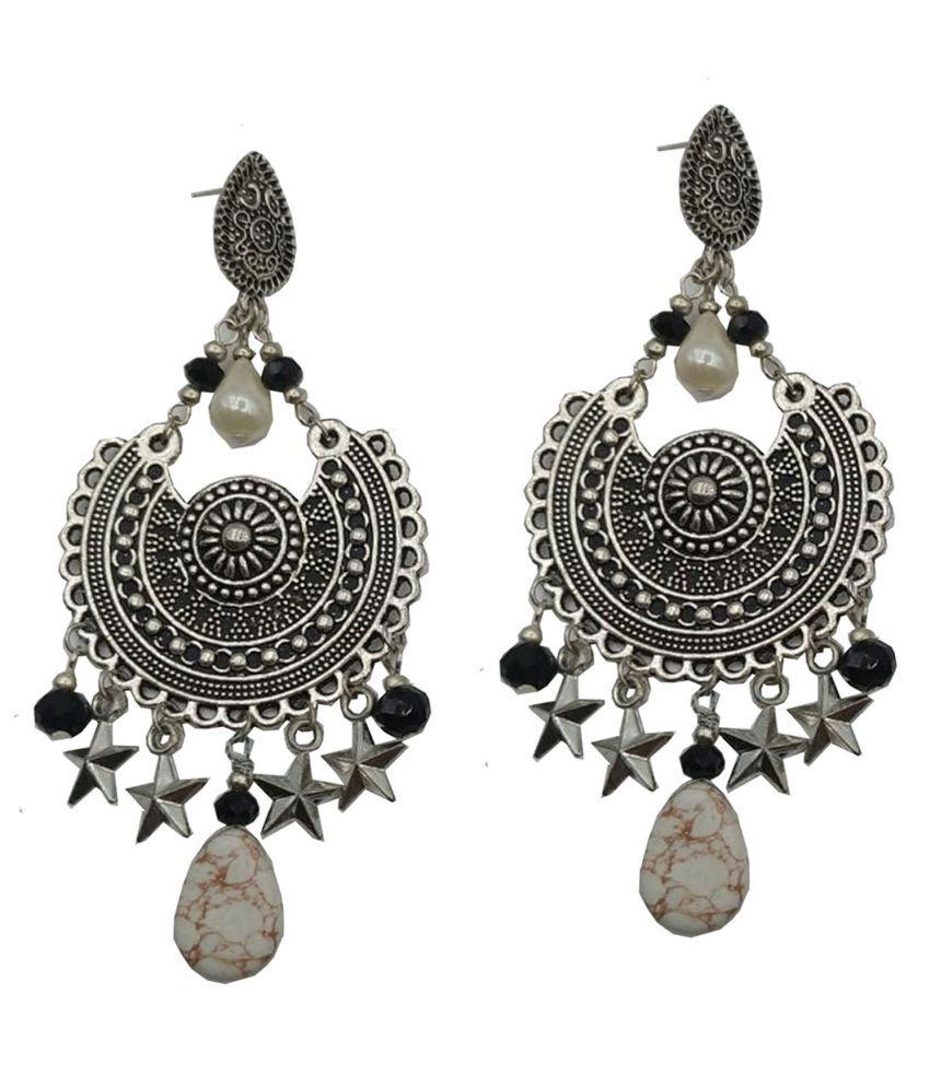 Fancy Stylish Party  Wear Silver Plated Oxidized Earring