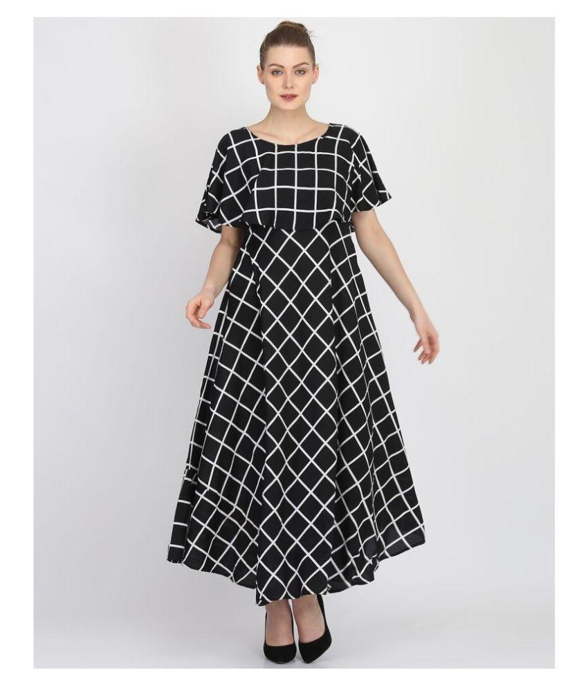 GopalPriya Creations Crepe Black Fit And Flare Dress