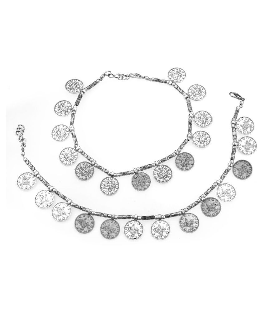 Archi Collection Fashion Stylish Trendy Oxidised Silver Beaded Coins Charm Anklet Set Payal Jewellery