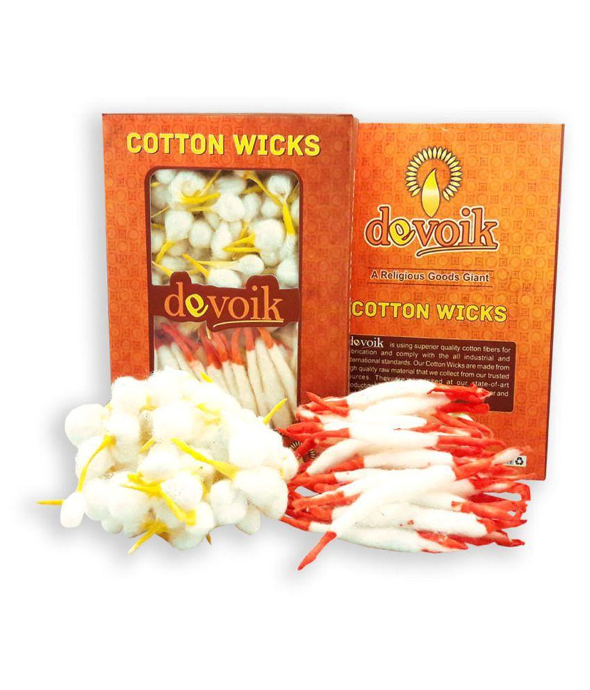 Devoik Cotton Wicks Yellow & Long (Red Tip) / Diya Baati - 251 Pcs