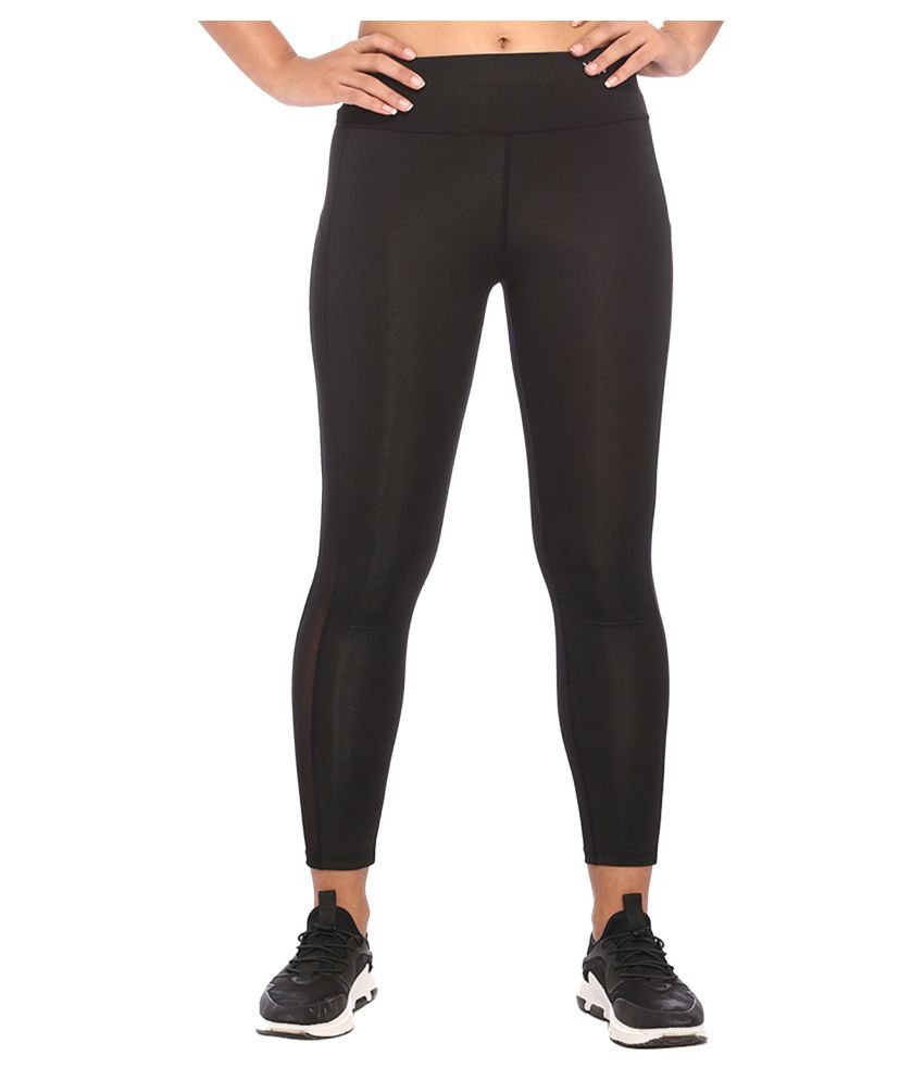 Vixenwrap Black Polyester Solid Tights