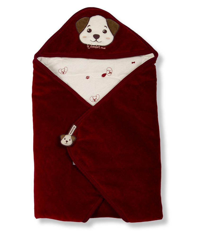 wonderME Red Cotton Baby Wrap cum blanket ( 75 cm × 75 cm - 1 pcs)