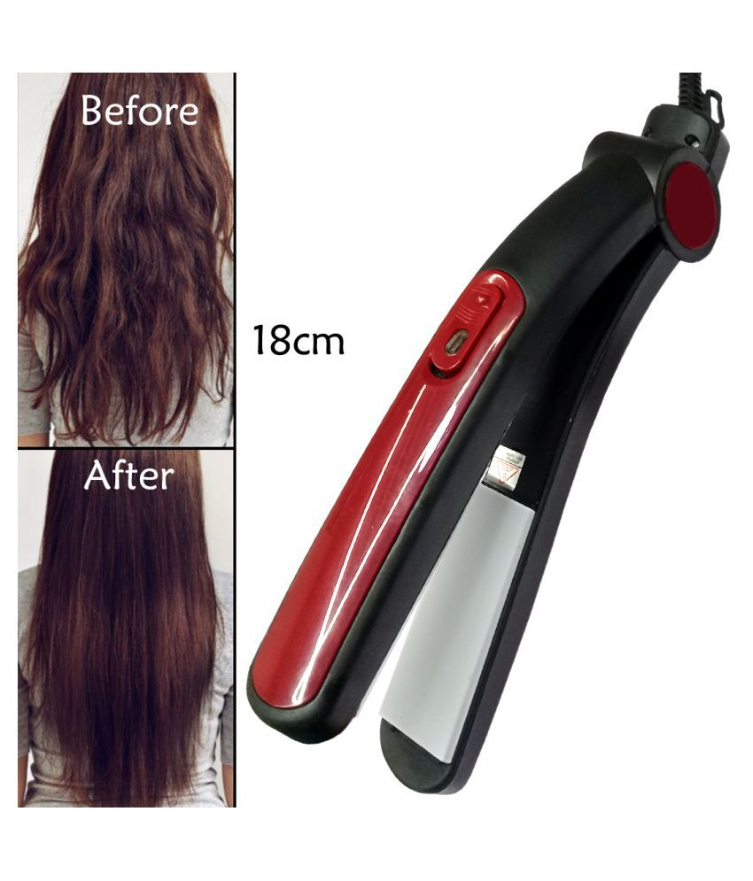 FS Slik Smooth Care Professional Ceramic Anti-Static Hair Styling Flat Hair Iron 45W Travel Friendly Hair Straightener ( Black & Red )