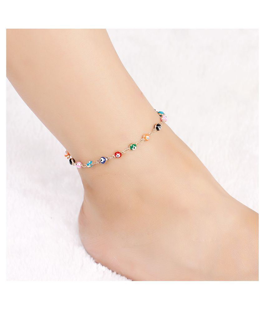 Gopalvilla New Beige And Copper Plated Anklet