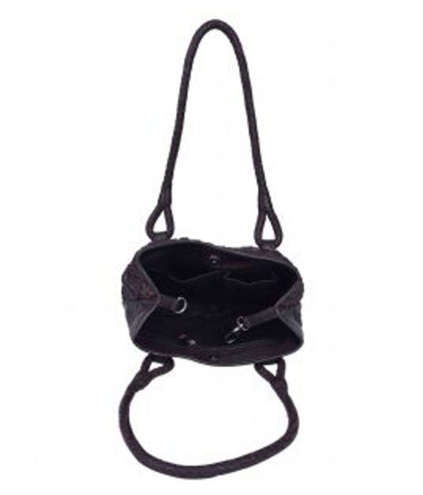 LA BAGGIO Black Pure Leather Shoulder Bag