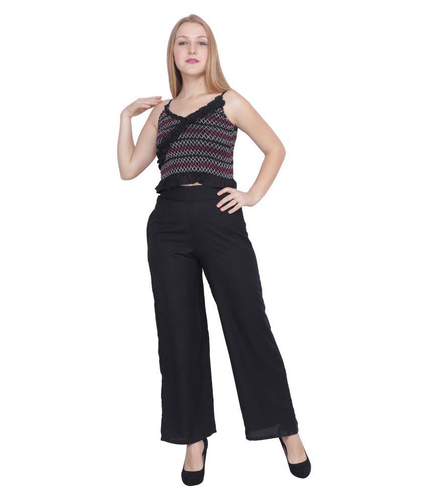 POPWINGS Black Rayon Jumpsuit