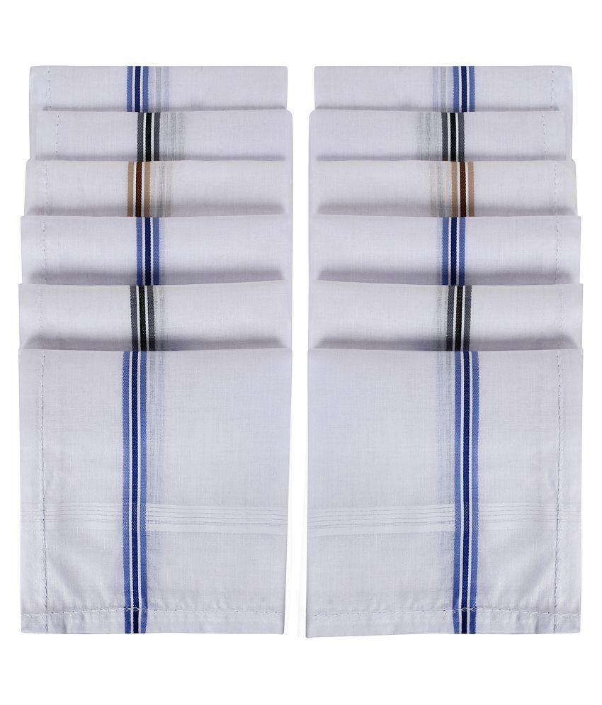 SIDEWOK White Pure Cotton Handkerchief For Men 12 Pack