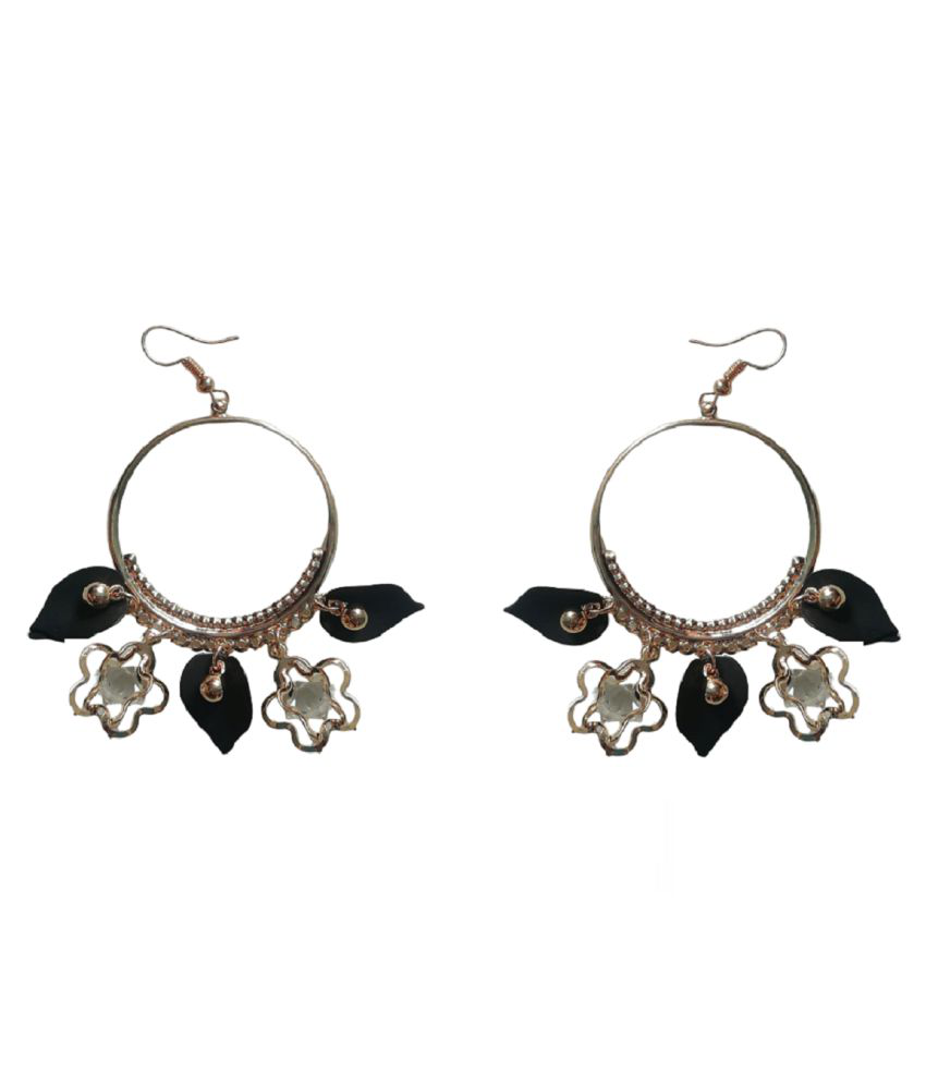 ANKAM OLDEN COLLOR AND BLACK LEAF WITH STON Alloy Stud Earring, Huggie Earring, Plug Earring, Clip-on Earring