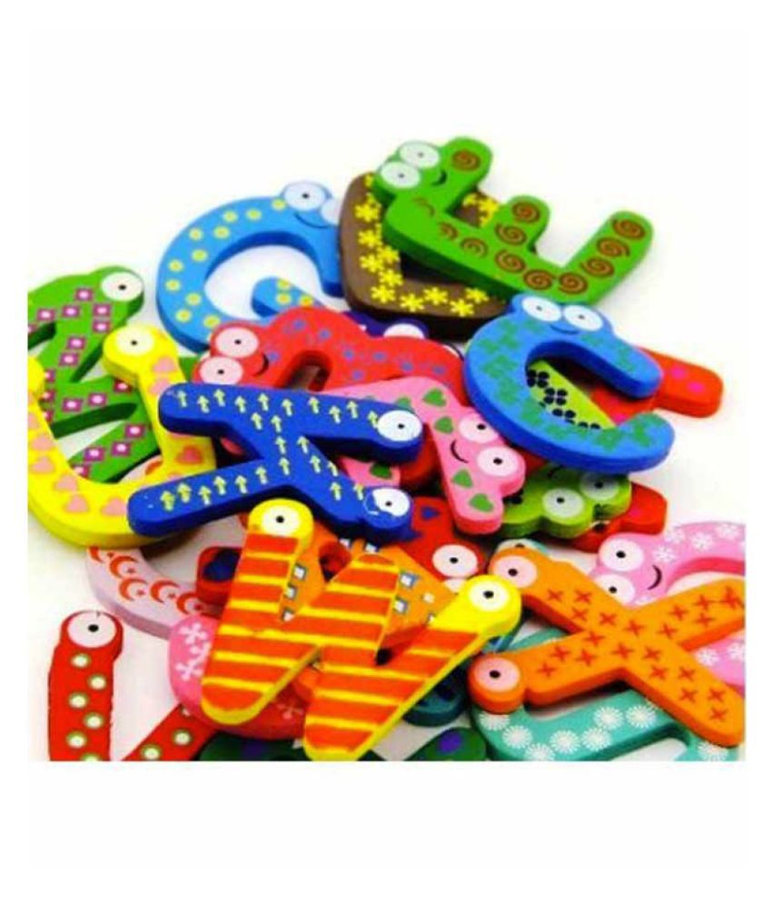 Kuhu Creations Multicolor English Wood Magnet Alphabet 26 Pcs.