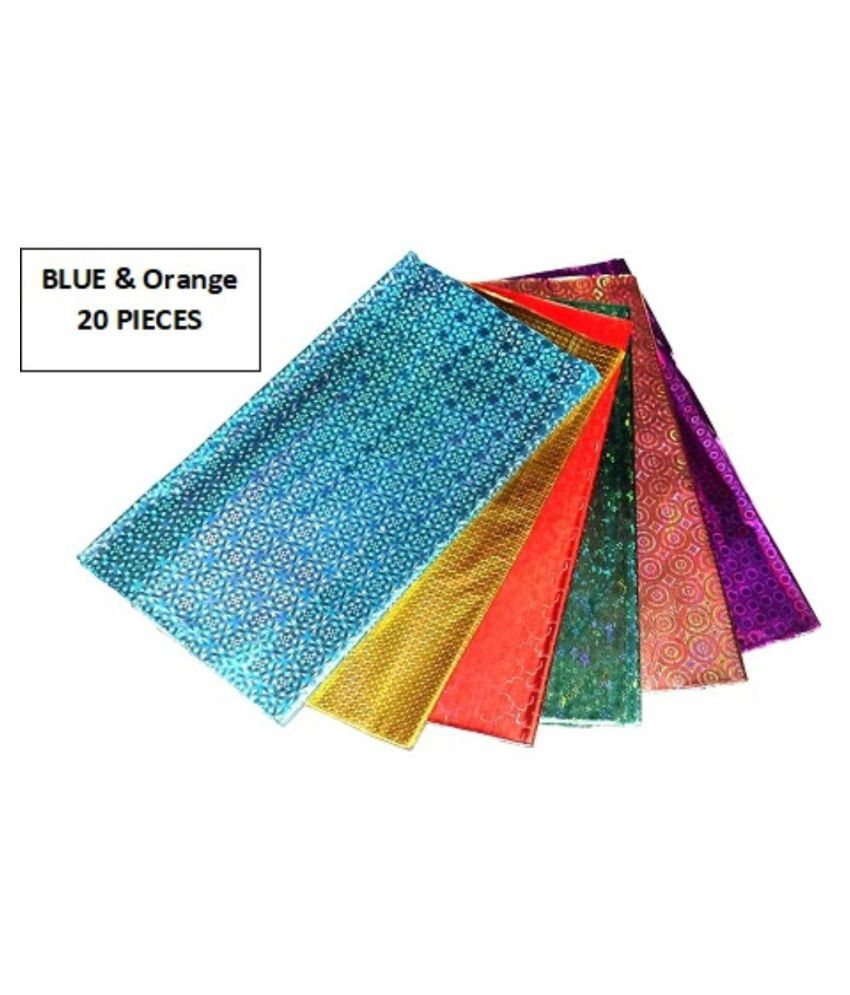 Blue Orange Color Wrapping Paper by Ritzees (Gift Paper, 20 Pieces)