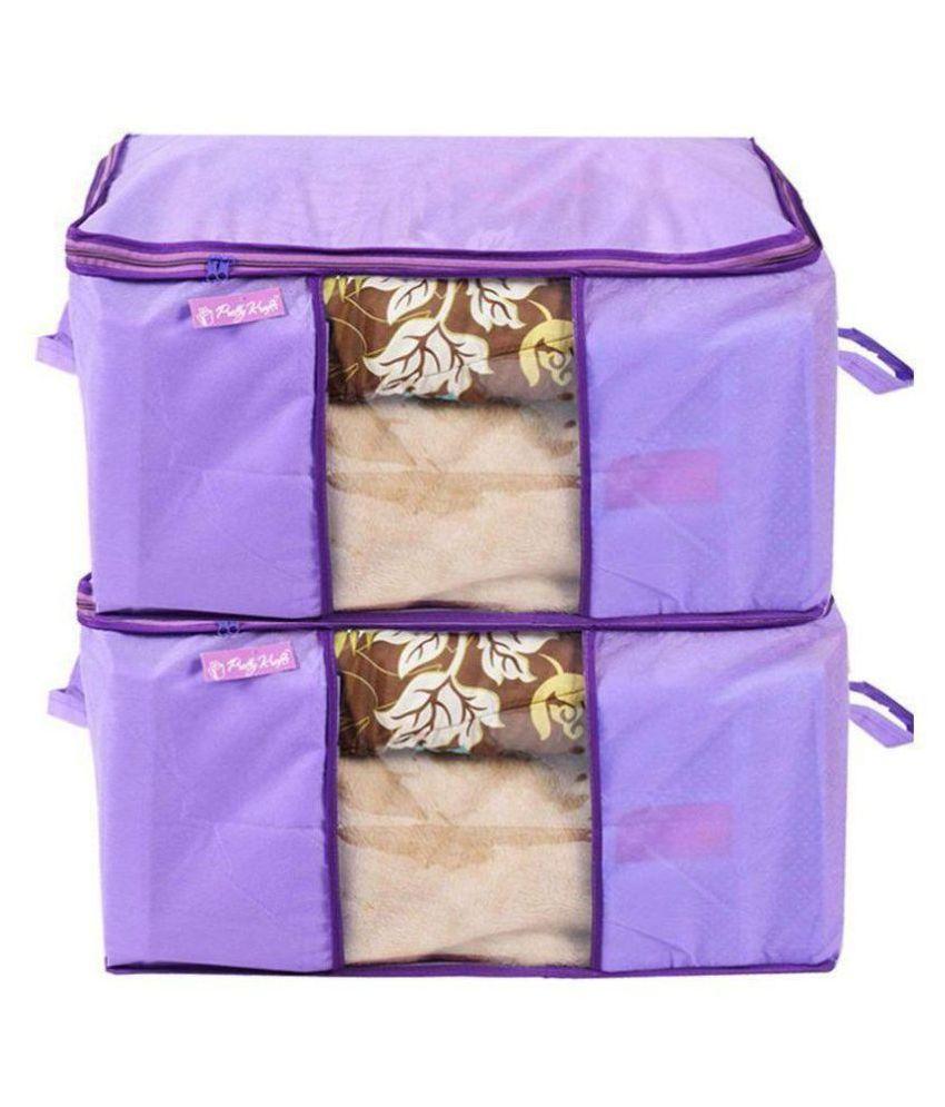 Prettykrafts Underbed Storage Bag, Storage Organizer, Blanket Cover with Side Handles (Set of 2 pcs)